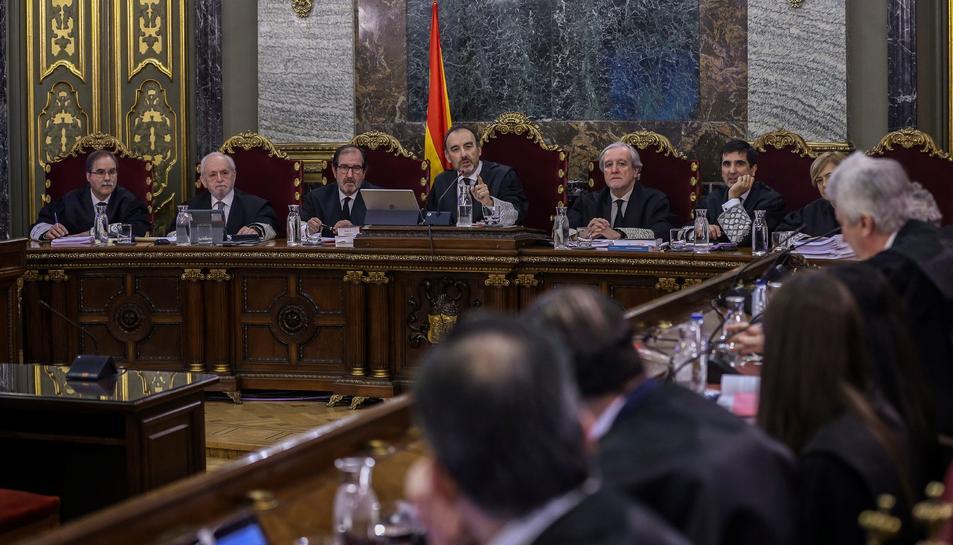 El magistrat del Suprem Manuel Marchena, intervenint a l'inici del judici el 12 de febrer.