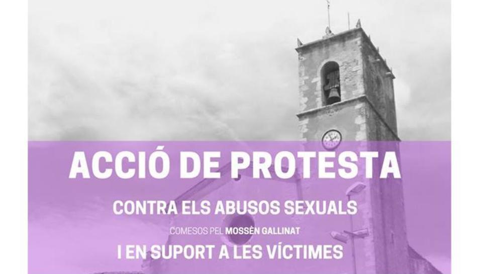 Cartell de la convocatòria de protesta contra els presumptes abusos sexuals de mossèn Gallinat a Sant Jaume dels Domenys.
