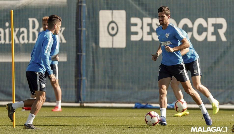 Un entrenament del Málaga, equip que visitarà Tarragona aquest diumenge.
