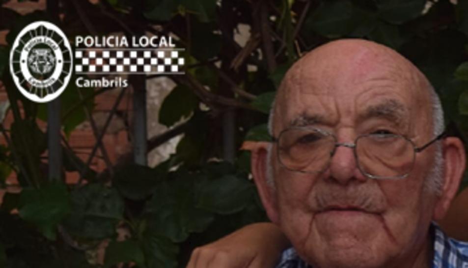 Imatge del veí desaparegut difosa per la Policia Local de Cambrils.