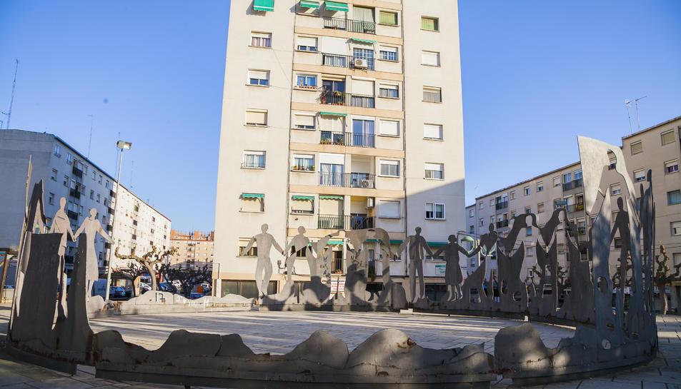 La plaça de la Sardana, en una imatge d'ahir.