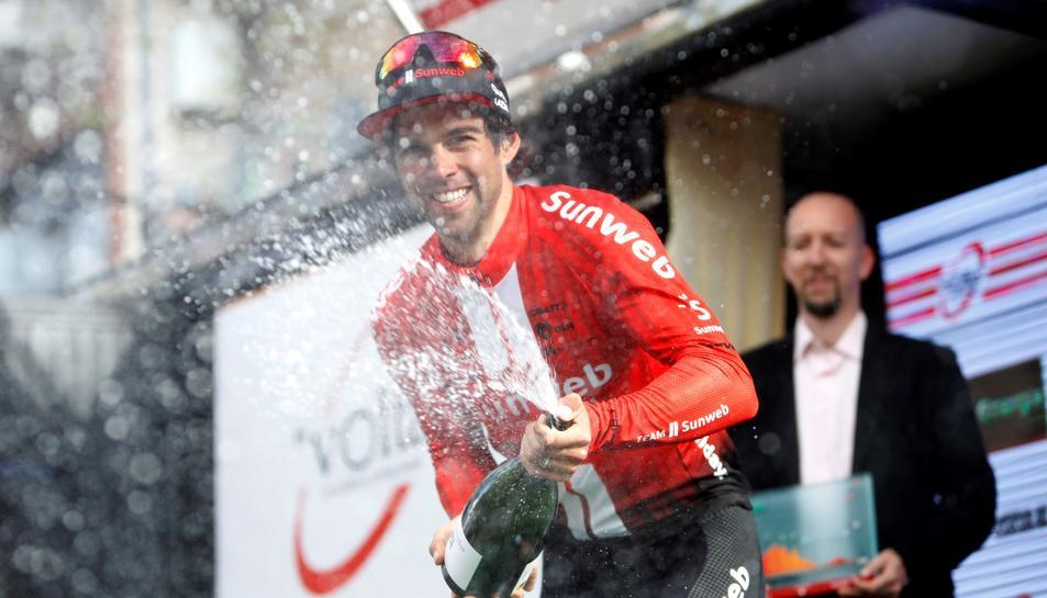Michael Matthews celebra el triong de la sisena etapa de la Volta.