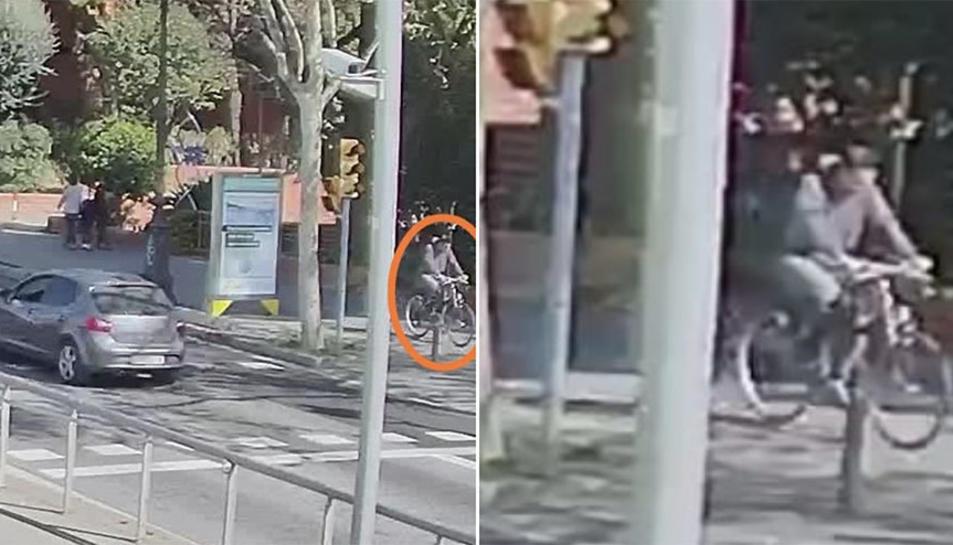Imatges distribuïdes per la Guàrdia Urbana de Barcelona per intentar localitzar el ciclista.