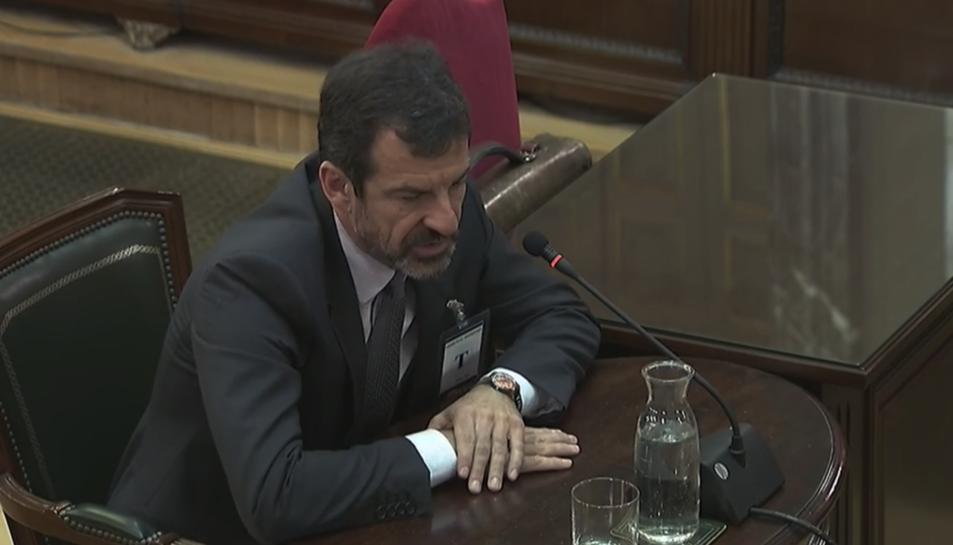 El comissari de Mossos Ferran López durant la seva declaració al Tribunal Suprem.