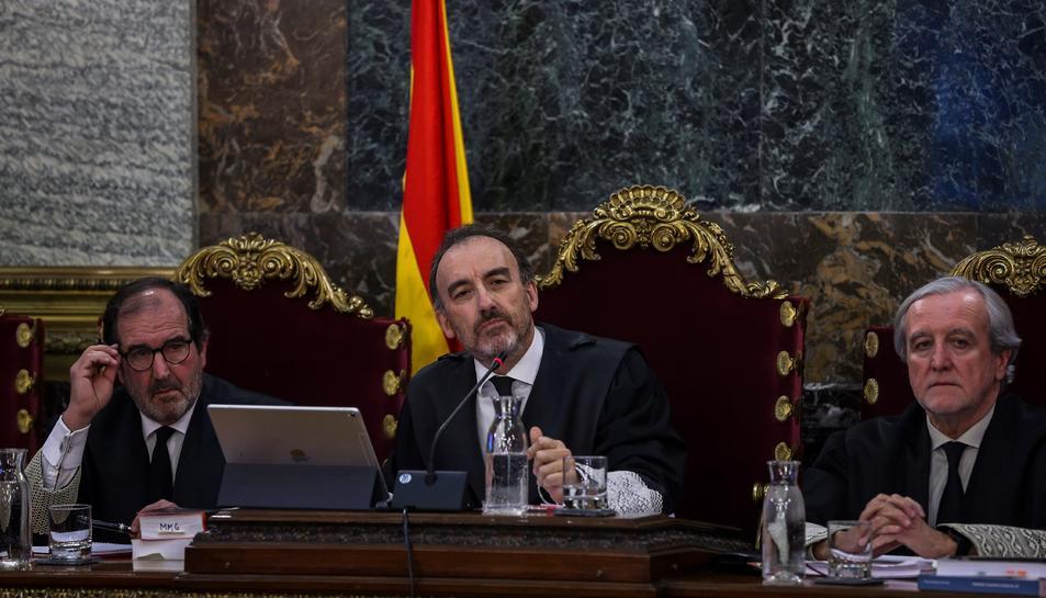El magistrat Manuel Marchena, presidint la sala durant la primera jornada del judici de l'1-O.