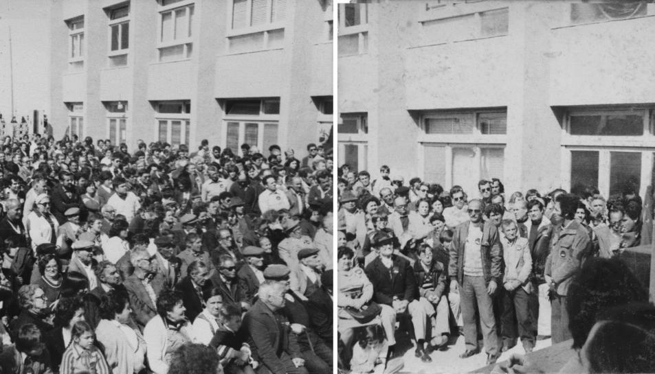 El comunista Marcelino Camacho, en el primer gran míting electoral a Tarragona, celebrat a Bonavista el 1976.