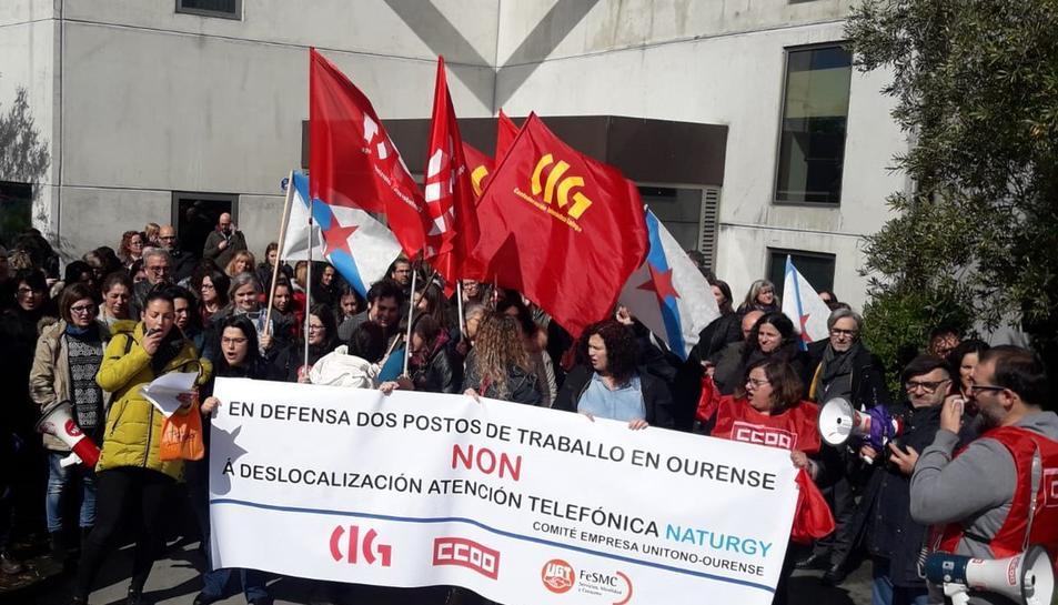 Mobilitzacions dels treballadors d'Ourense, ahir.
