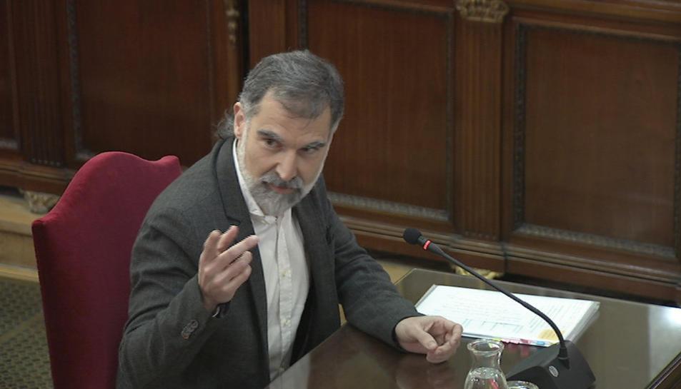 El president d'Òmnium Cultural, Jordi Cuixart, durant la seva declaració al judici de l'1-O.