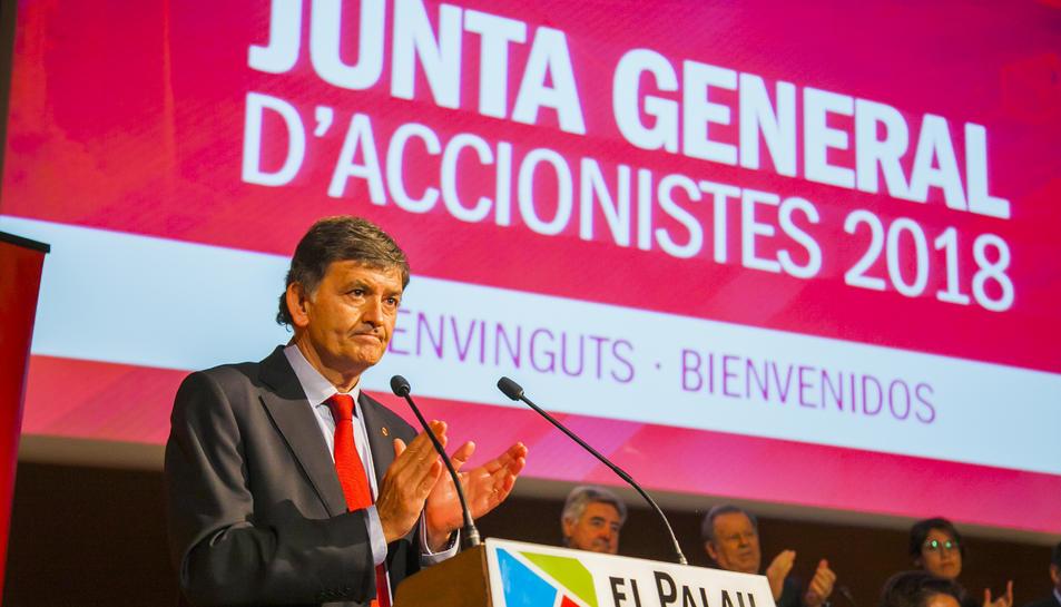 Josep Maria Andreu, durant una assemblea d'accionistes