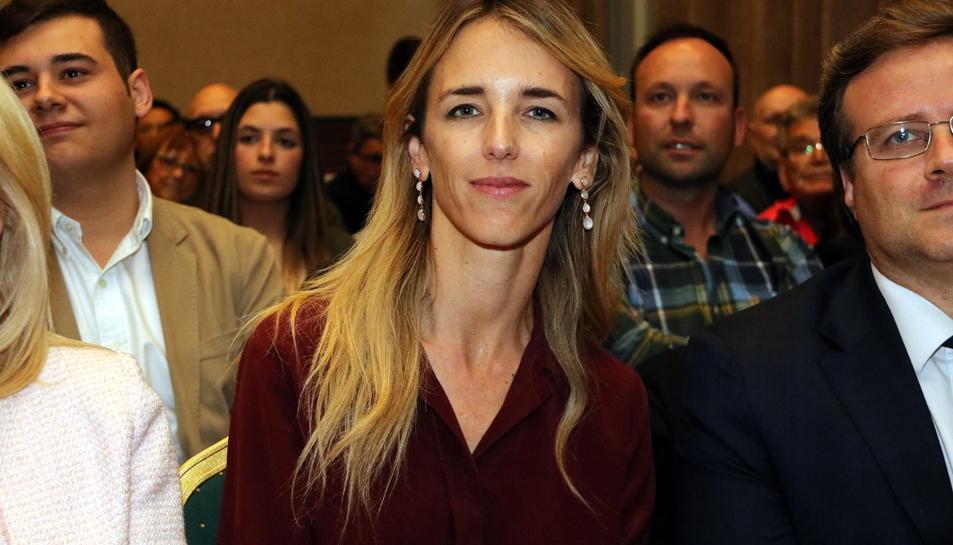 La candidata del PP al Congrés per Barcelona Cayetana Álvarez de Toledo a Figueres, aquest 8 d'abril del 201.