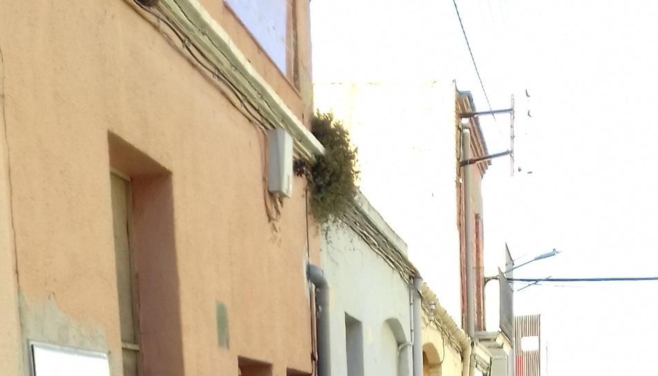 Agents dels mossos a les immediacions de la casa escorcollada aquest dijous al vespre al barri de les Quintanes d'Amposta.