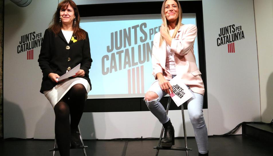 Les números 2 i 3 de JxCat a la llista del Congrés, Laura Borràs (esquerra) i Míriam Nogueras (dreta).