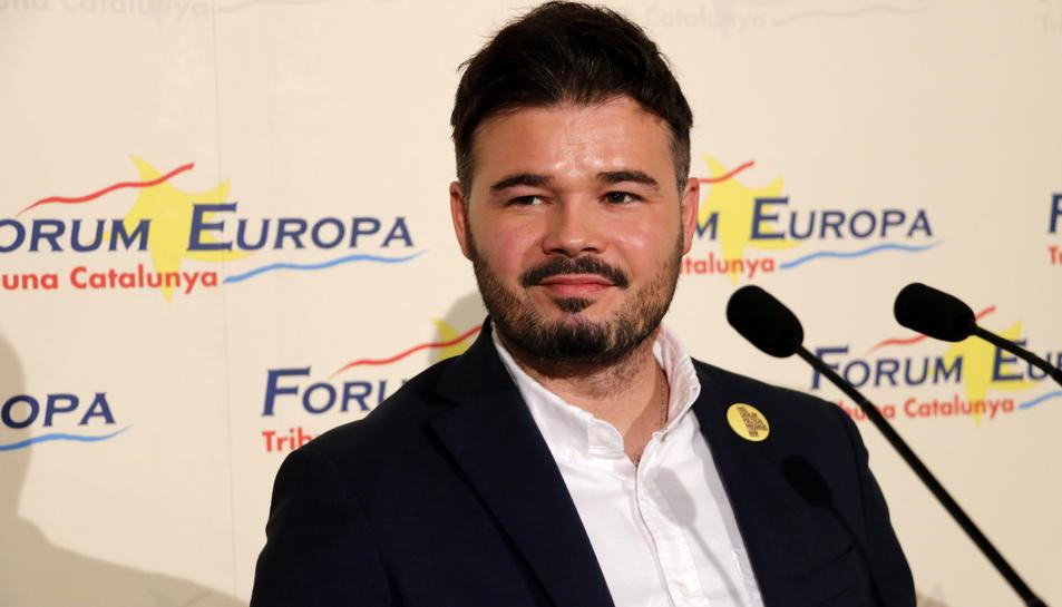El número 2 d'ERC a les eleccions espanyoles, Gabriel Rufián, en un moment de l'esmorzar 'Fòrum Europa. Tribuna Catalunya'.
