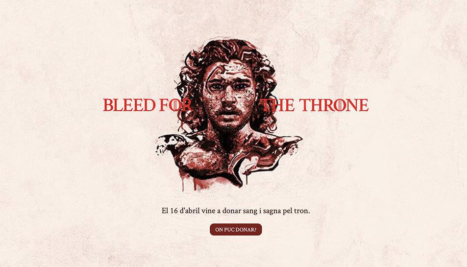 Una de les imatges que obre el web dedicat a la donació de sang vinculada a Joc de Trons.