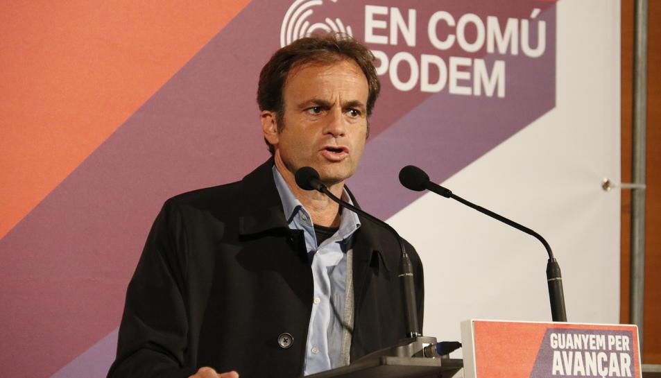 El candidat dels comuns, Jaume Asens, durant l'acte de campanya a Tarragona.