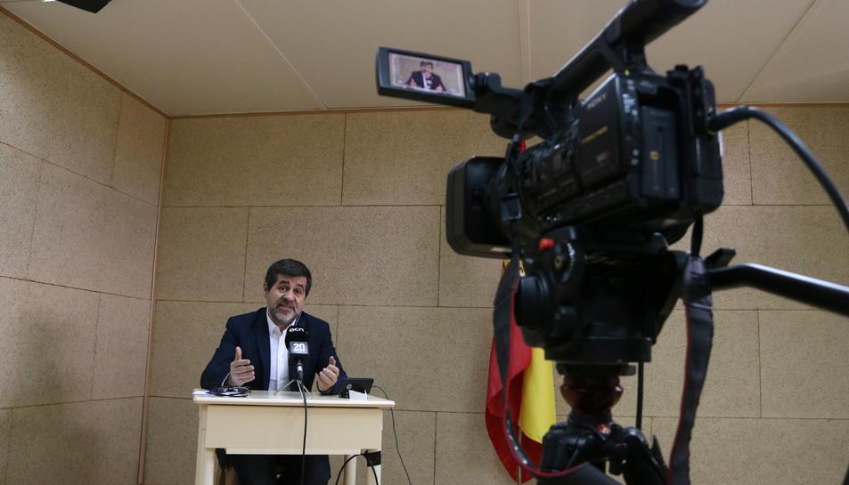 El candidat de JxCat el 28-A, Jordi Sànchez, durant la roda de premsa.