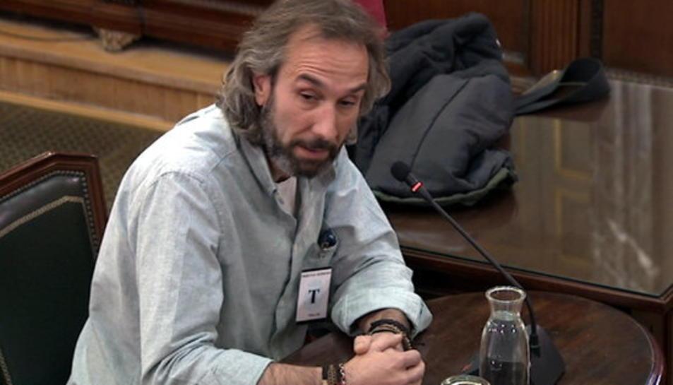 El tècnic del Departament de Treball David Badal durant la seva declaració al Tribunal Suprem.