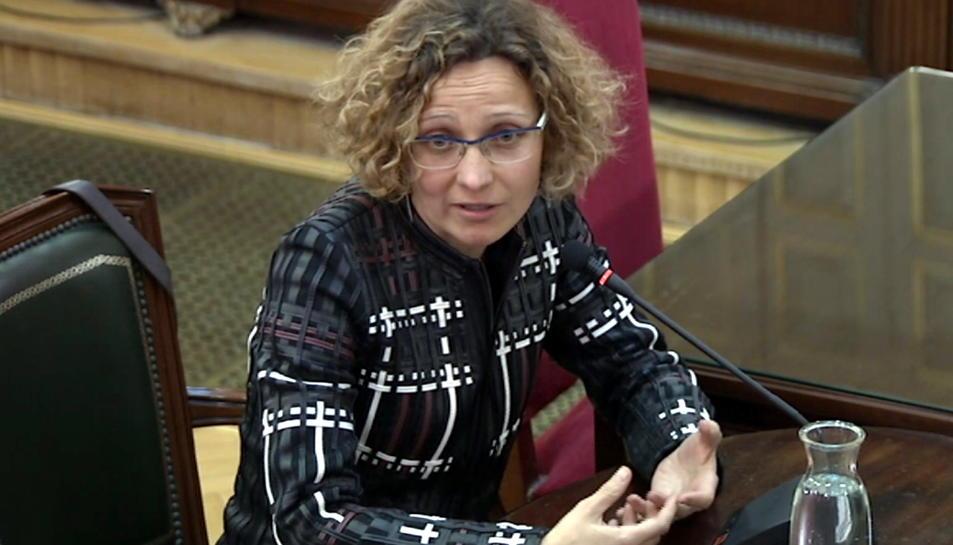 L'exconsellera d'Ensenyament Meritxell Ruiz, declarant com a testimoni al Tribunal Suprem.
