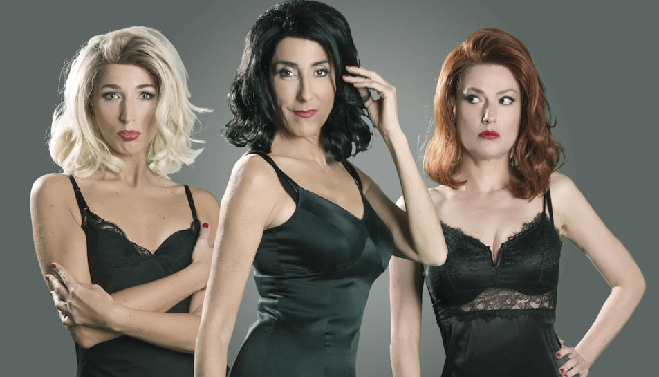Paz Padilla, al centre, amb les seves dues companyes a l'escenari, Esther Rivas i Natalie Pinot.
