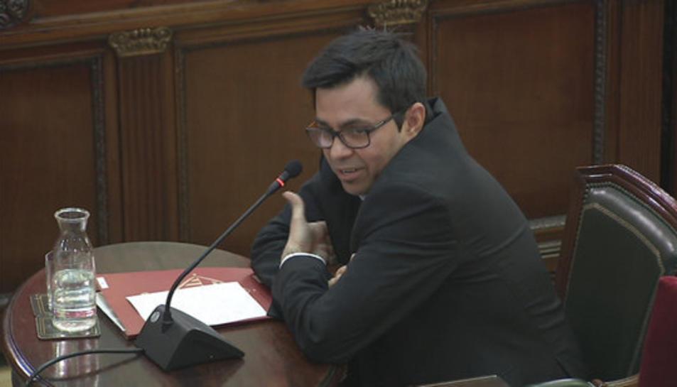 Gerard Pisarello, durant la seva declaració com a testimoni al Tribunal Suprem.