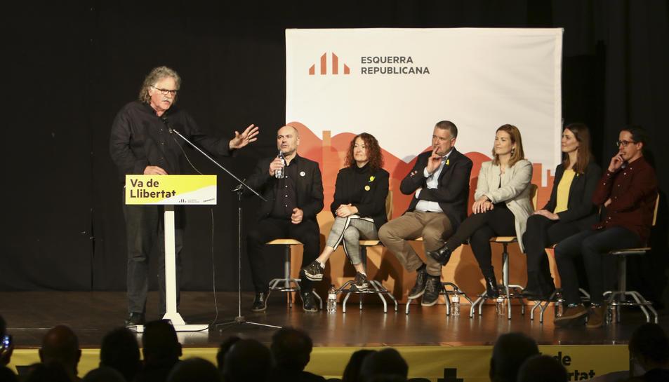 L'actual diputat al Congrés, Joan Tardà, ahir dijous en l'acte electoral que es va celebrar al Centre Cívic de Sant Pere i Sant Pau.