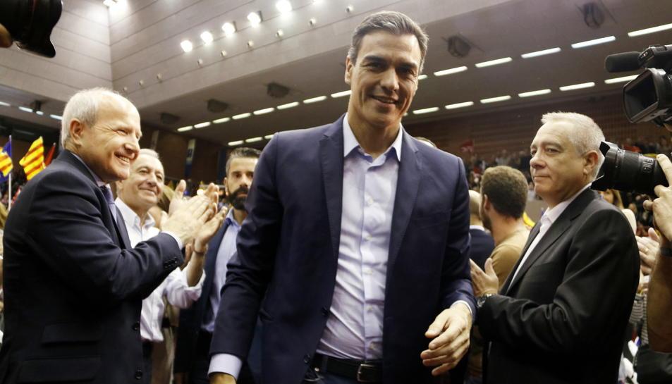 Pla mitjà del president del govern i candidat del PSOE, Pedro Sánchez, entrant a l'acte central del PSC