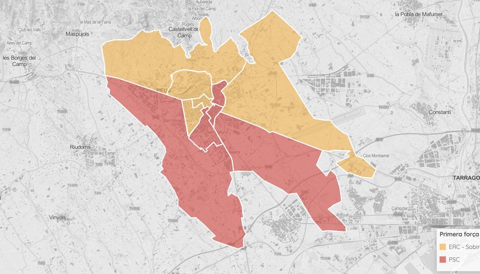 Mapa de districtes de Reus.