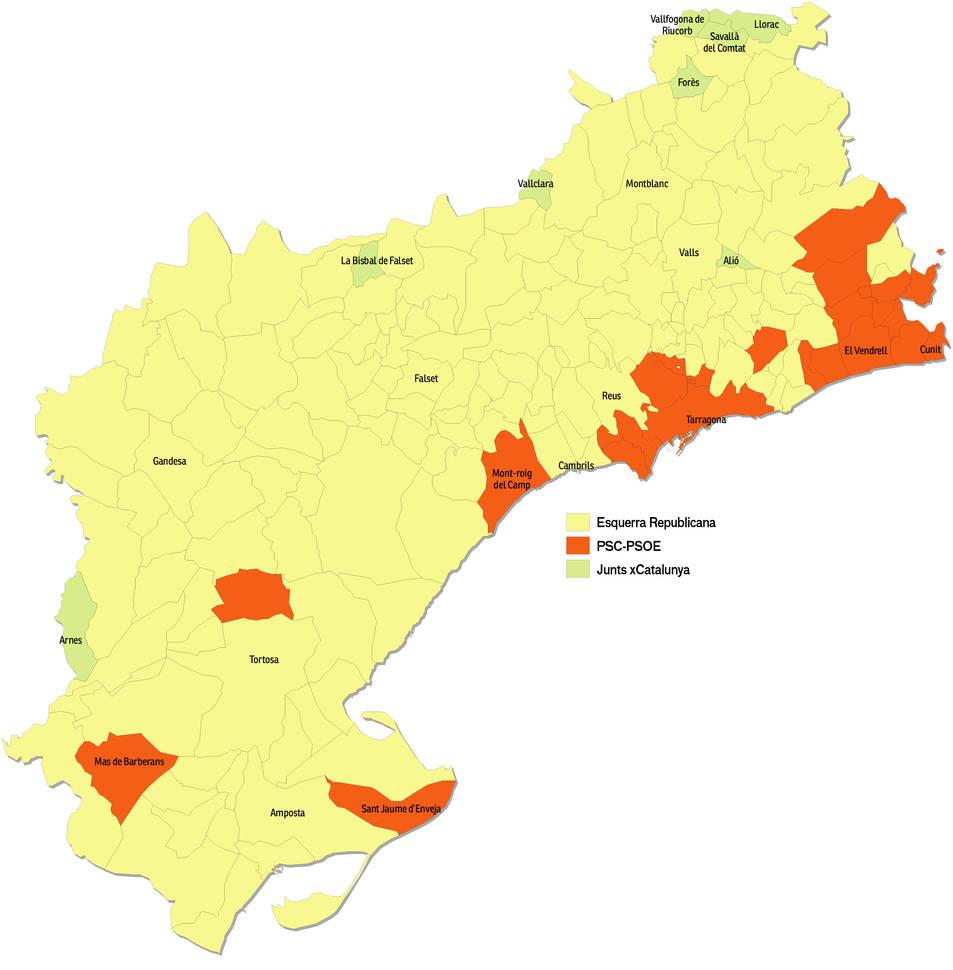 Dels 185 municipis de la demarcació, en 8 pobles hi va guanyar JxCat, en 22 el PSC i, en 155, ERC.
