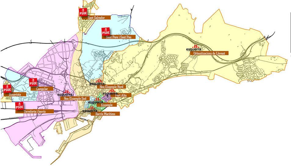 La majoria dels districtes els va guanyar Esquerra, però el PSC es va imposar en vots.