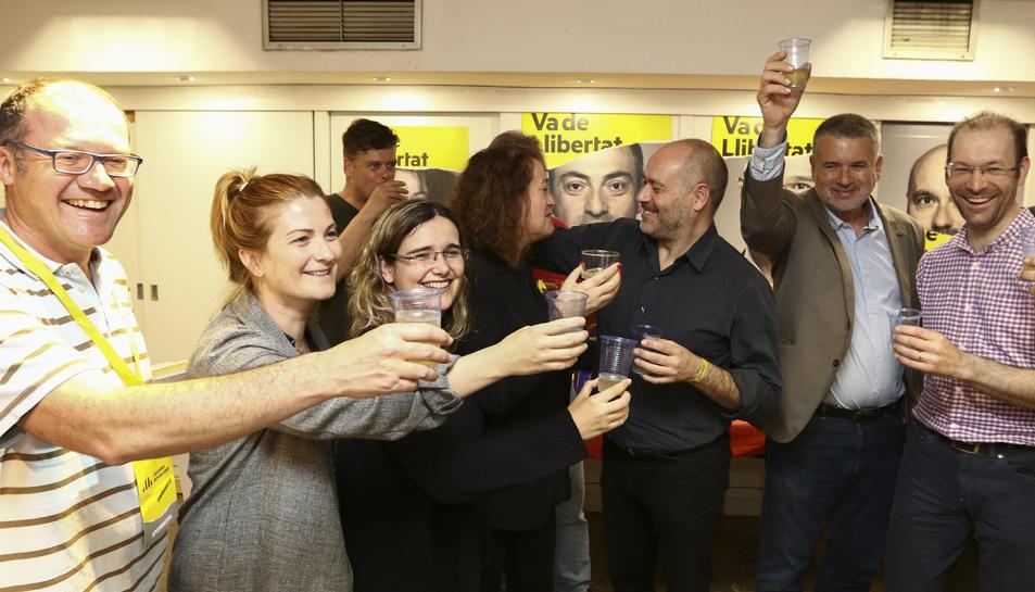 Celebració de la victòria electoral a Tarragona a la seu d?ERC.
