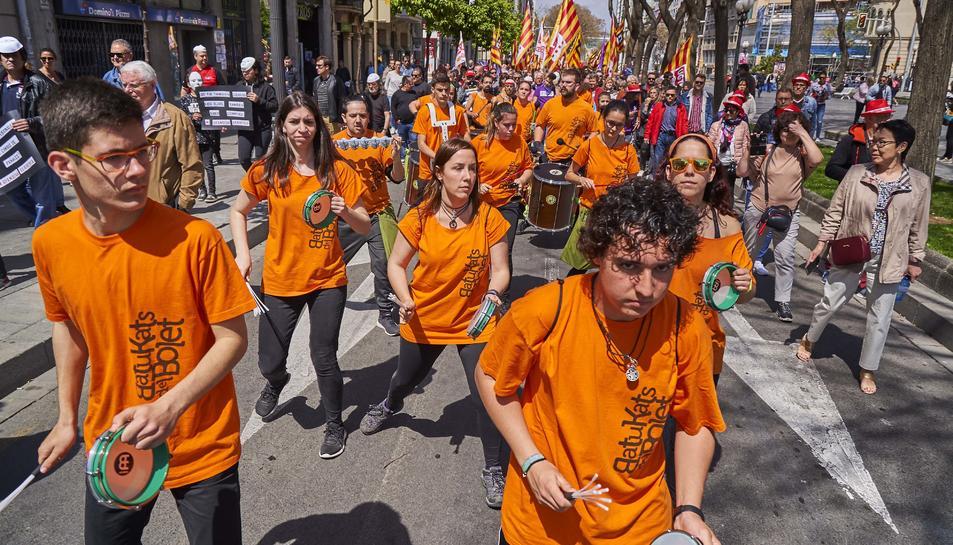 Manifestació del Primer de Maig al matí a la Rambla Nova de Tarragona