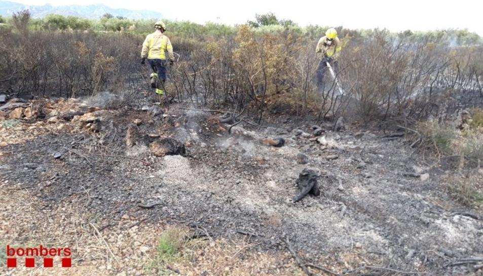 El foc de vegetació estava prop de la carre