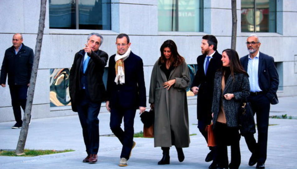 L'expresident del Barça Sandro Rosell arriba a l'Audiència Nacional l'endemà de quedar en llibertat, el 28 de febrer.