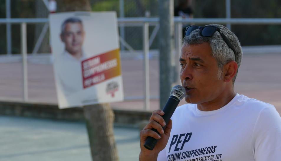 L'alcalde i candidat de JxCat, Pep Nolla, ahir a Pallaresos Park.