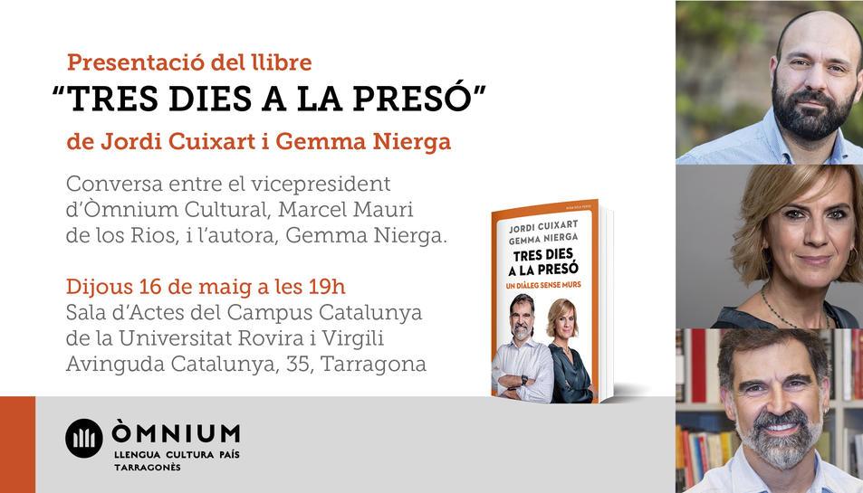 Imatge del cartell de la presentació del llibre 'Tres dies a la presó'.