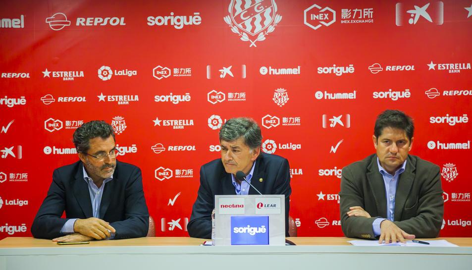 D'esquerra a dreta, el vicepresident del Consell, Jordi Virgili, el president, Josep Maria Andreu, i el director general, Lluís Fàbregas.