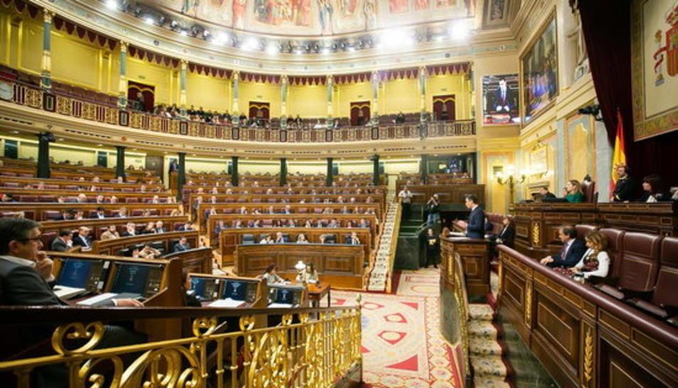 Imatge d'arxiu de l'hemicicle del Congrés dels Diputats durant una compareixença de Pedro Sánchez.