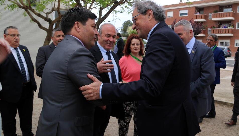 Pla americà del president de la Generalitat, Quim Torra, i el president de la FCAC, Ramon Sarroca.