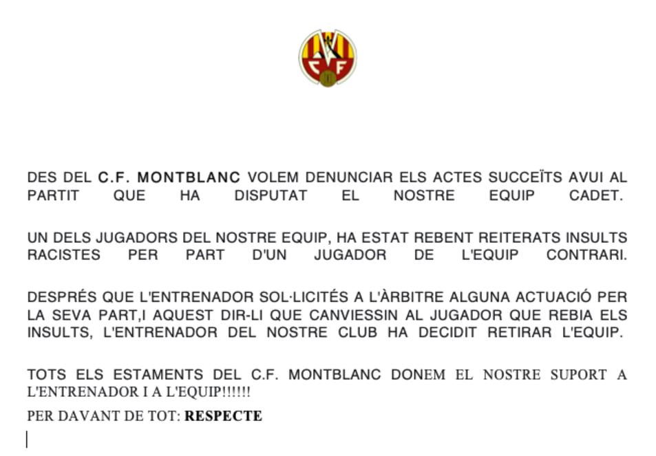 El comunicat del Montblanc