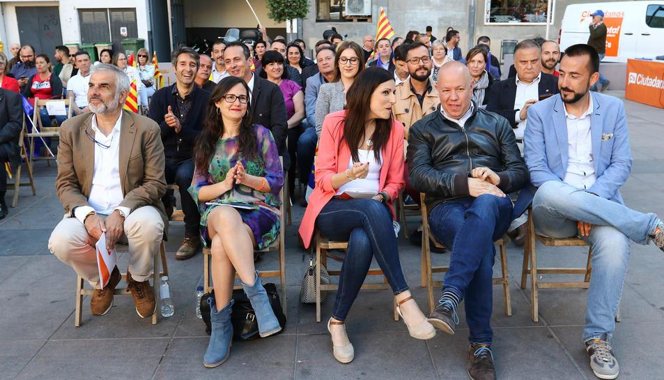 Carlos Carrizona, Débora García, Lorena Roldán, Jordi García i Carlos Sánchez, ahir al Baluard.