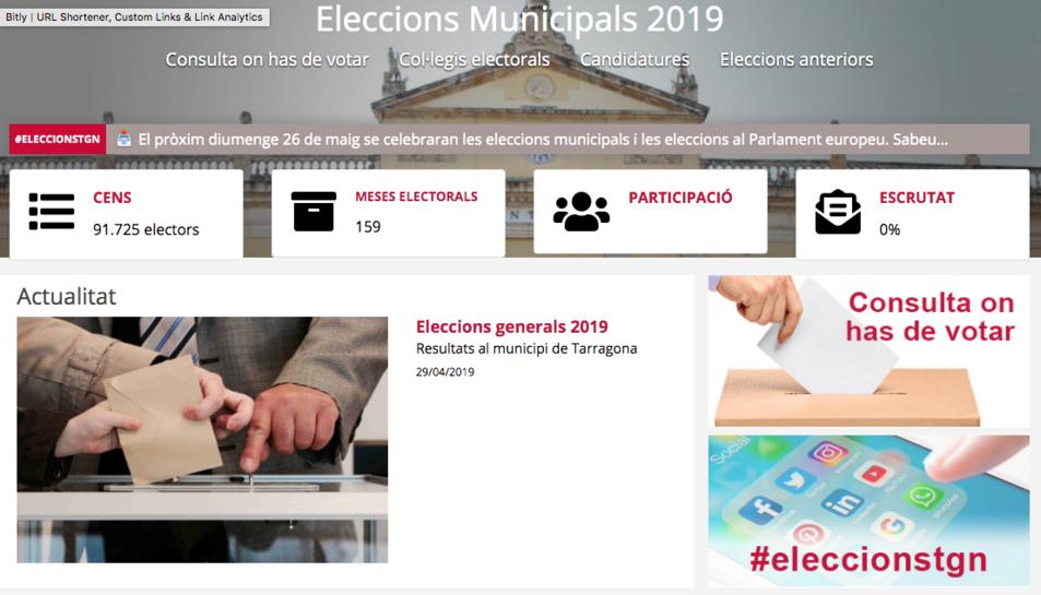 Imatge de la pàgina web per les eleccions municipals de Tarragona.