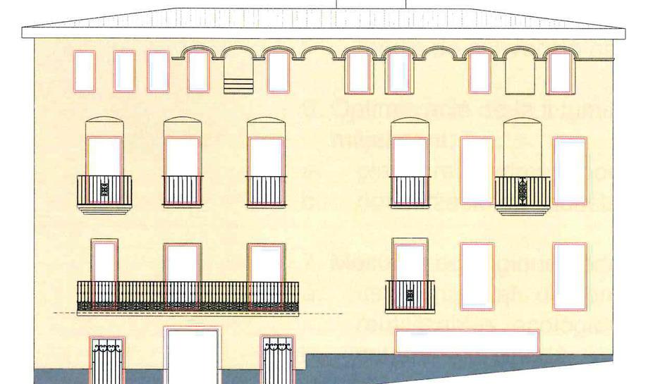 Esbòs de la futura façana del nou hotel de quatre estrelles superior de Riudecanyes.