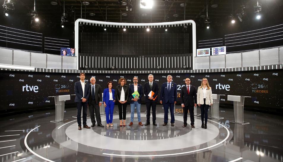 Imatge dels candidats a les eleccions europees al debat de TVE.