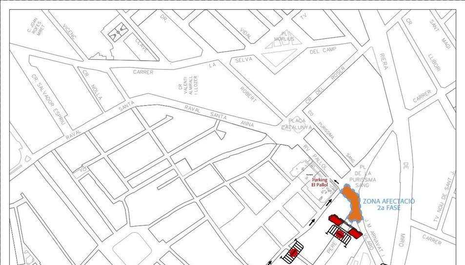 Plànol de les afectacions al trànsit en motiu de la segona fase d'obres a la plaça de la Sang.