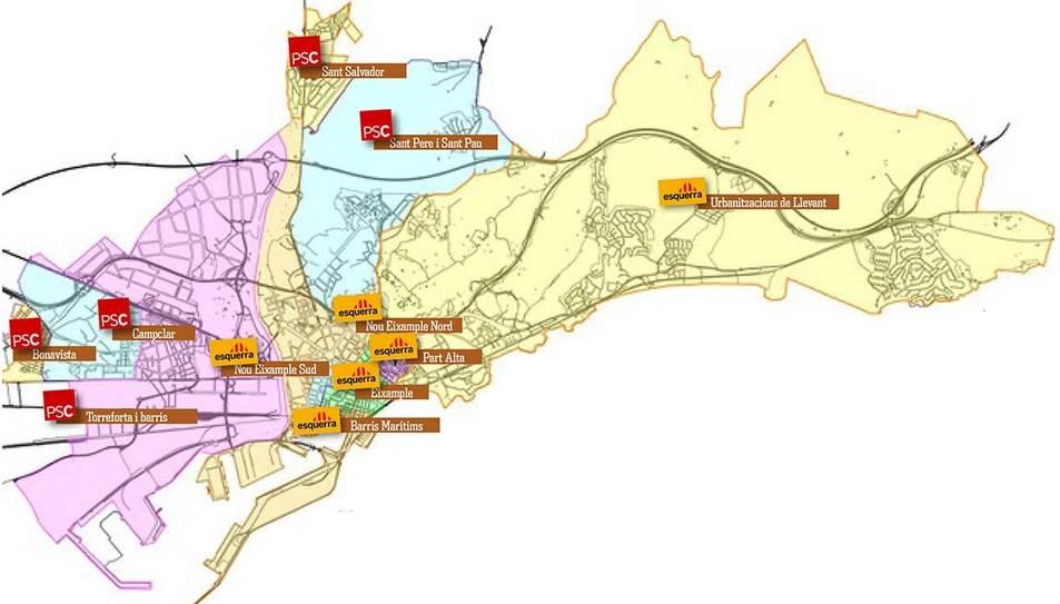 Mapa de districtes de Tarragona.