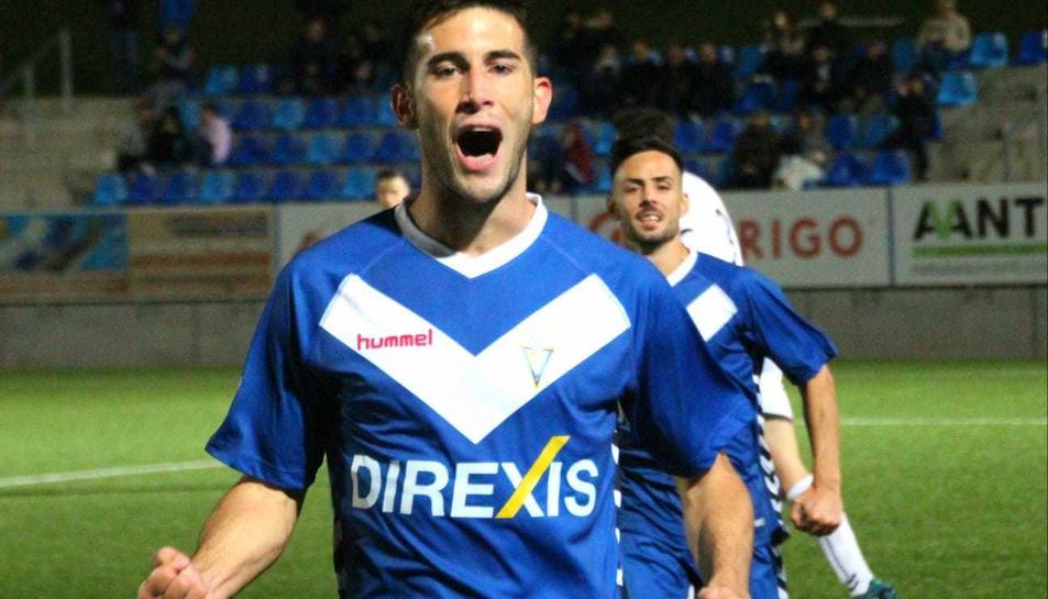 Albarrán celebra un gol anotat aquesta temporada al conjunt badaloní.
