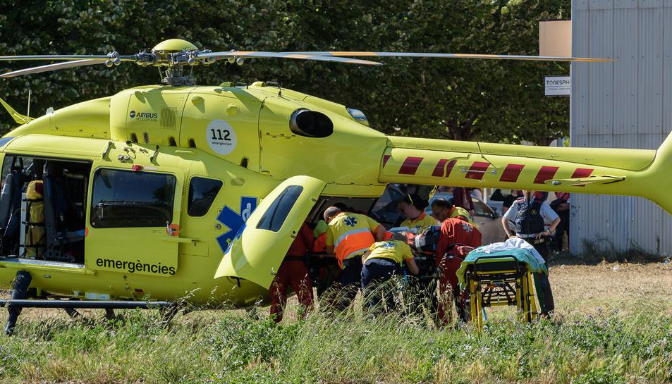Imatge de l'helicòpter del SEM a Llorenç del Penedès.