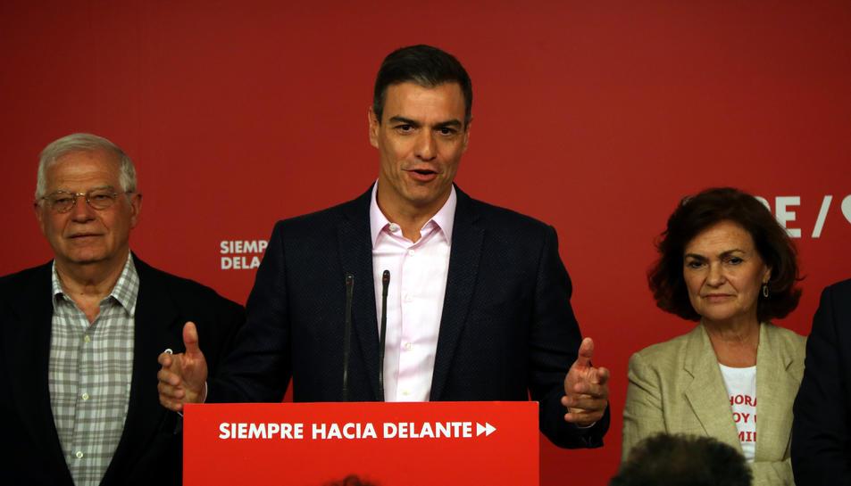 El secretari general del PSOE, Pedro Sánchez, a la seu de Ferraz.
