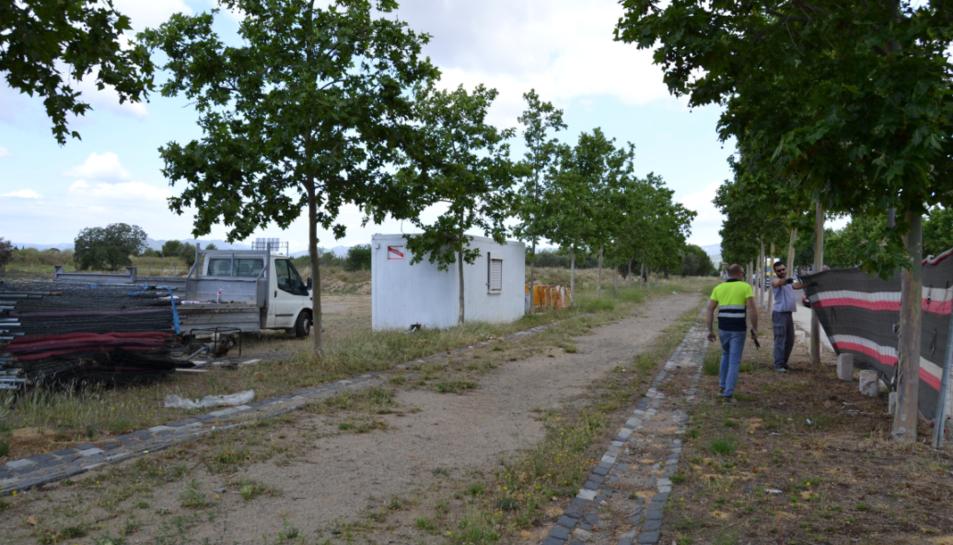 Imatge de l'inici d'obres del parc per a famílies.