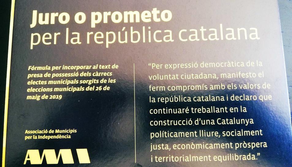 L'AMI proposa als electes que prometin o jurin el càrrec «per la república catalana».